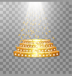 golden podium with a spotlight on a transparent vector image