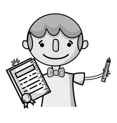 Grayscale boy with notebook and hairstyle design vector