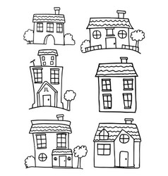 hand draw of house set collection vector image