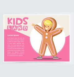Happy boy dressed as gingerbread cute kid in vector