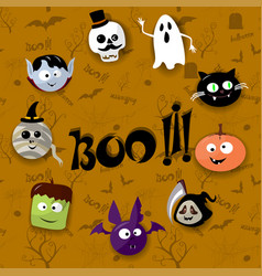 happy halloween card with vampire mummy skull vector image