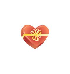happy valentines day present heart box vector image