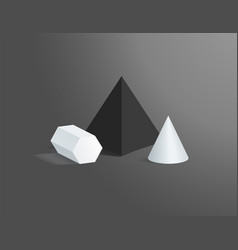 hexagonal prism with cone and black square pyramid vector image