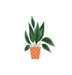 house tropical plant with leaves in pot icon flat vector image