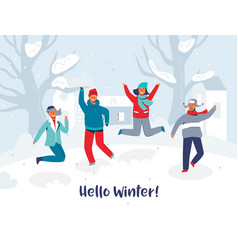 joyful characters friends jumping in the snow vector image