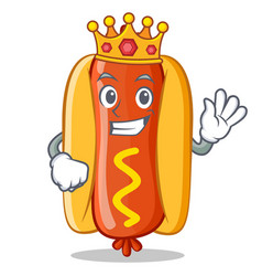 King hot dog cartoon character vector