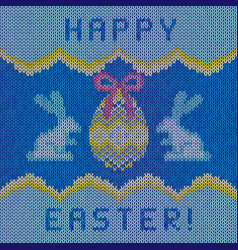 Knitted happy easter background vector