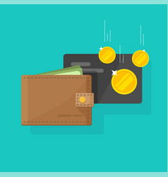 Leather wallet with money and credit card cash vector