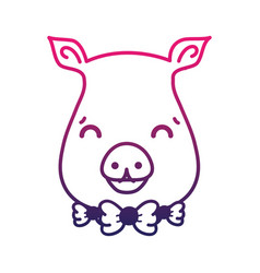 Line cute pig female wild animal vector