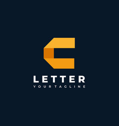 logo abstract letter c flat color line art style vector image