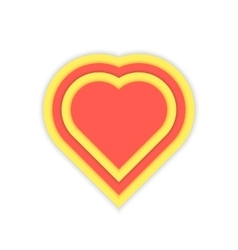 Luminous red and yellow heart icon vector