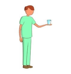 Male nurse with a glass icon cartoon style vector