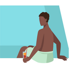 man sitting poolside drinking cocktail male vector image