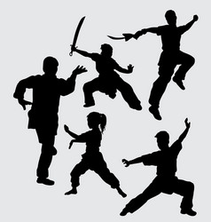 martial art sport silhouette vector image