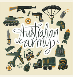 Military and army flat hand drawn card vector
