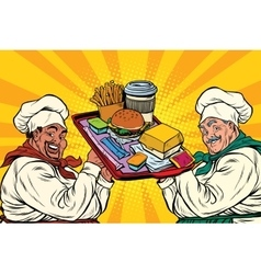 Multi ethnic cooks fast food vector image