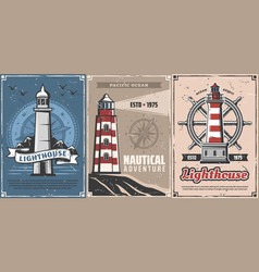 nautical lighthouses compasses and marine helm vector image