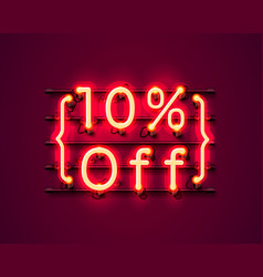 neon frame 10 off text banner night sign board vector image