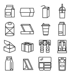 packaging sign black thin line icon set vector image
