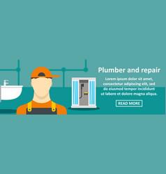 plumber and repair banner horizontal concept vector image