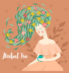 portrait a pretty woman drinking a cup vector image