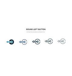 Round left button icon in different style two vector