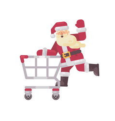 santa claus riding a shopping cart happy vector image