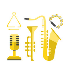 Saxophone gold icon music classical sound vector