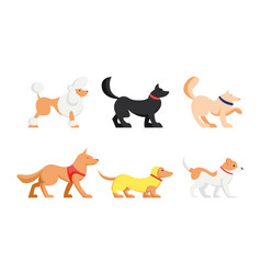 set cute dogs different breeds isolated on vector image