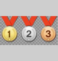 set gold silver and bronze sports medals vector image