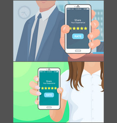 share experience rate mobile application vector image