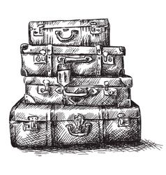 Sketch drawing of luggage bags vector image