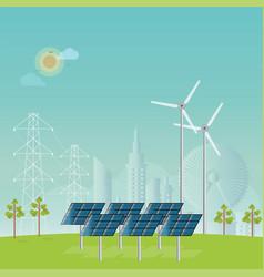 Solar energy panels and wind turbine vector