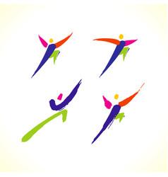 Sport colorful stick figure vector
