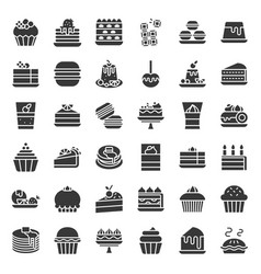 Sweets and dessert icon set solid style vector