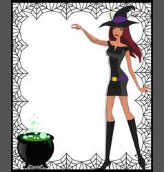 template with cute green eyed witch in short vector image