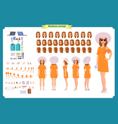 Tourist female vacation traveller character vector