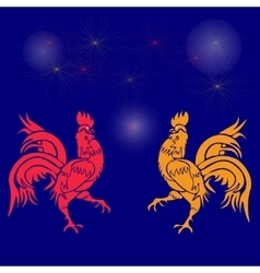 Two cocky rooster red and yellow on a background vector image