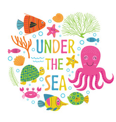 Under the sea card with marine animals vector