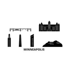 United states minneapolis flat travel skyline set vector