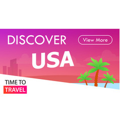 usa tour banner time to travel - placard in pink vector image