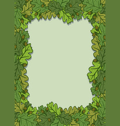 vertical decorative frame with green oak leaves vector image