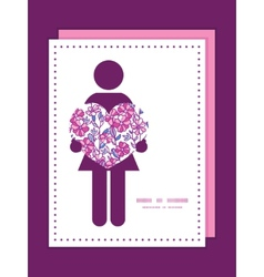 Vibrant field flowers woman in love silhouette vector
