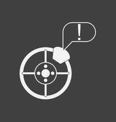 White icon on black background steering wheel vector