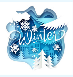 winter layered paper art style vector image