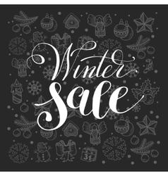 winter sale handwritten lettering inscription vector image