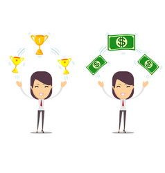 woman holding cup award money prize vector image