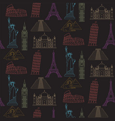 World landmarks seamless background vector