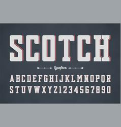 condensed retro display font design vector image