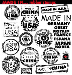 made in rubber stamps vector image vector image
